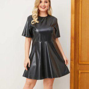 Black Pleather Mini Skater Dress - Size 18